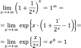 Límites resueltos con la indeterminación 1 elevado a infinito. Fórmula (con demostración), método alternativo y transformación en otra indeterminación para aplicar la regla de L'Hôpital. Cálculo de límites paso a paso. Matemáticas. Bachillerato y universidad.