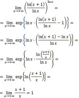 cociente de logaritmos elevado a un logaritmo