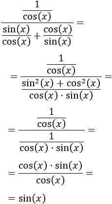 Demostraciones de igualdades entre funciones trigonométricas para bachiller.