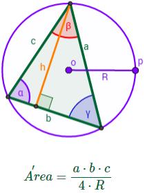 el teorema del seno (con demostración) y problemas resueltos de su aplicación: calcular lados, ángulos y áreas de triángulos. Fórmula del área de un triángulo aplicando el teorema del seno.
