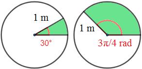 Fórmulas para calcular el área y el perímetro de un sector circular y problemas resueltos de aplicación. Secundaria, ESO y Bachillerato.