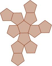 Propiedades básicas y fichas descriptivas del tetraedro, hexaedro, octaedro, dodecaedro e icosaedro. Con el número de vértices, caras y aristas y las fórmulas del área y del volumen. Poliedros. Secundaria.