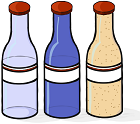 representación de tres botellas con el mismo volumen (1 litro): de oxígeno, de agua y de arena