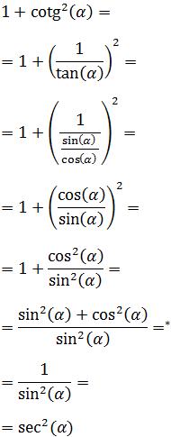Definiciones del coseno, seno, tangente, secante, cosecante y cotangente; demostración de las identidades trigonométricas (ángulo doble, medio, mitad, suma, resta, producto, cuadrado, identidad fundamental, etc.) y ejemplos.