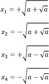 Ecuaciones bicuadradas resueltas