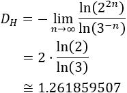 Generamos el polvo de Cantor (Cantor dust) por la técnica de string rewriting y calculamos la dimensión de Hausdorff del fractal. Fractal. Fractales.