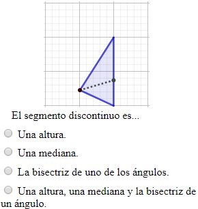 Problemas interactivos para aprender geometría plana. Poligonos regulares e irregulares (triángulo, cuadrado, rombo, romboide, rectángulo, pentágono y hexágono), clasificación de triángulos según la amplitud de sus ángulos (obtusángulo, rectángulo, acutángulo) y según sus lados (escaleno, isósceles y equilátero), clasificación de los cuadriláteros (cuadrado, rectángulo, rombo y romboide), clasificación de los ángulos y elementos de un triángulo (mediana, bisectriz, altura, ortocentro, baricentro e incentro) . TIC. Secundaria. Ejercicios en línea.