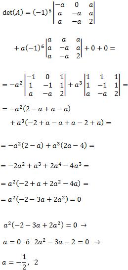 En esta página calculamos el determinante de matrices con parámetros con la intención de averiguar para qué valores de los parámetros las matrices son regulares (es decir, tienen inversas). No siempre podremos aplicar las reglas para calcular el determinante, así que tendremos que aplicar las propiedades de los determinantes. Álgebra matricial. Matrices. Matemáticas. Bachillerato, Universidad.