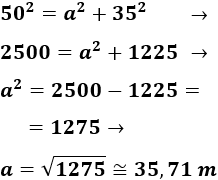 teorema de Pitagoras: problemas resueltos y test en línea